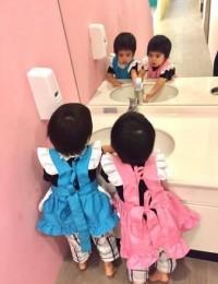 林志颖双胞胎儿子穿女仆装