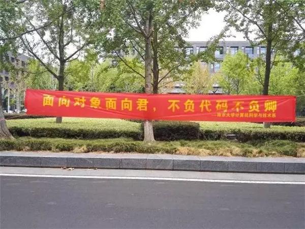 又是一年开学季,南京大学仙林校区挂满了学长学姐们脑洞大开的迎新图片