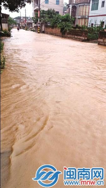 昨日,一场33mm的降雨将南安霞山村村道淹没