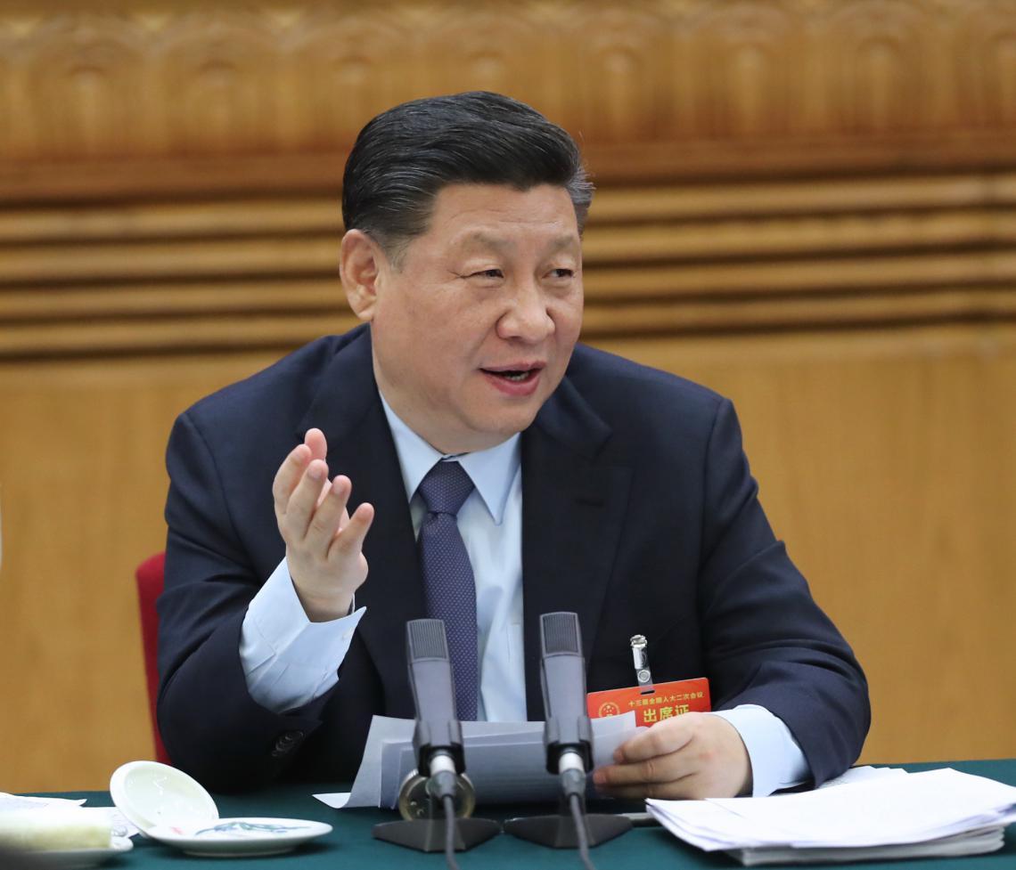 2019年3月7日,习近平参加十三届全国人大二次会议甘肃代表团的审议。