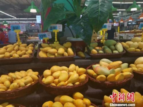 图为超市里的芒果。 谢艺观 摄