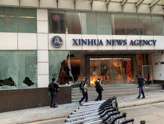 新华社香港分社遭纵火香港新闻界发表声明谴责