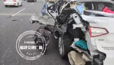 福州三环又出事了!从未见过被撞得这么烂的车身......