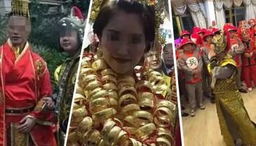 广东土豪婚礼!新娘脖子上的金镯子完全数不过来