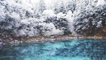四川九寨沟迎来入冬第一场雪 晶莹剔透