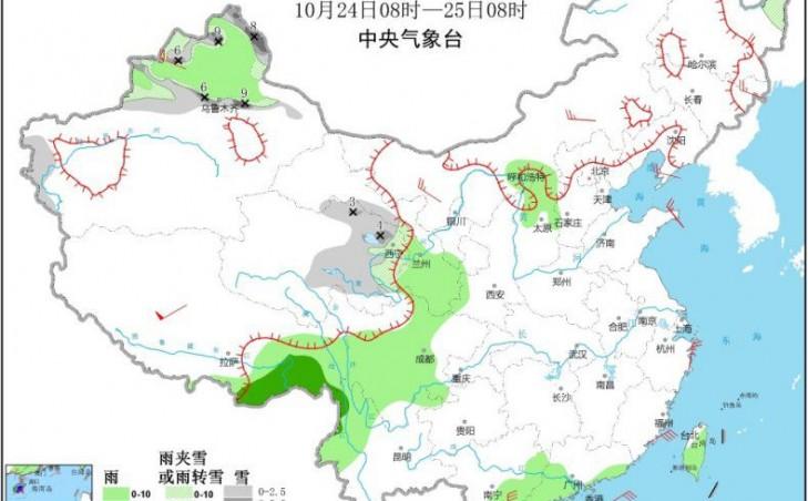 """台风""""沙德尔""""影响南海 新疆北部有雨雪降温天气"""