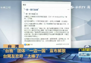 """""""台独""""团体""""一边一国""""宣布解散  台网友欢呼""""太棒了"""""""